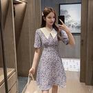出清388 韓國風復古赫本風印花小雛菊翻領碎花短袖洋裝