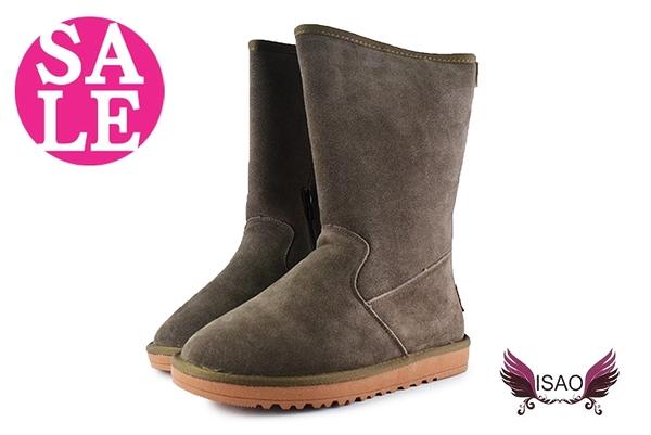 ISAO雪靴韓版 內層全鋪毛 套入式 拉鍊 真皮女靴 零碼出清 季末回饋 M8070#卡其◆OSOME奧森童鞋
