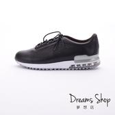 大尺碼女鞋-夢想店-MIT台灣製造柔軟透氣牛皮綁帶超輕量氣墊鞋2.5cm(41-44)-黑色【JD8705】