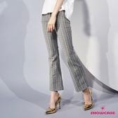【SHOWCASE】OL質感千鳥條格紋顯瘦小喇叭長褲(灰)