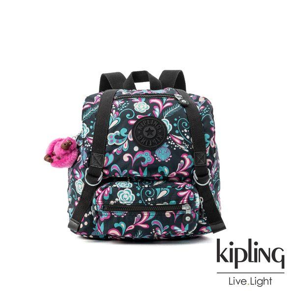 Kipling 繽紛奇想叢林圖騰雙扣翻蓋束口後背包-JOETSU S