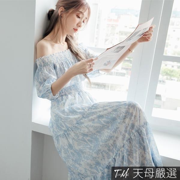 【天母嚴選】渡假感渲染印花一字領收腰層次連身裙