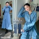 LULUS【A02200108】Y長版牛仔洋裝附綁帶2色