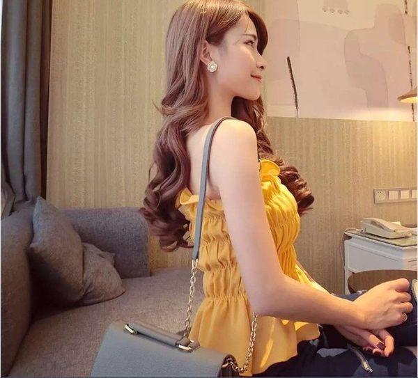 +ES533小性感甜美風純色褶皺木耳修身度假裹胸打底抹胸(木耳抹胸  &小咪的店&
