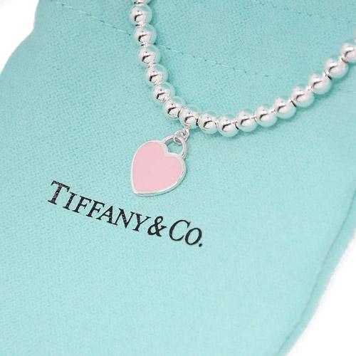 Tiffany&Co. Return to Tiffany  經典刻字圓珠純銀手鍊 粉色愛心  禮物 情人節 女友