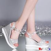 【伊人閣】楔型涼鞋 厚底鞋 涼鞋 坡跟  鬆糕 魚嘴 防水臺 高跟 一字帶