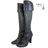 【巴黎站二手名牌專賣店】*現貨*CELINE 真品*黑色全皮粗跟長筒靴 靴子