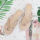 現貨 春夏新款平底水鑽夾腳拖鞋 蜜月鞋度假推薦 版型偏小 22.5-25 EPRIS艾佩絲-甜美粉