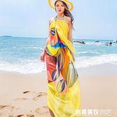 絲巾女百搭夏季沙灘巾超大防曬海邊速幹長款海灘披肩紗巾雪紡圍巾 米希美衣