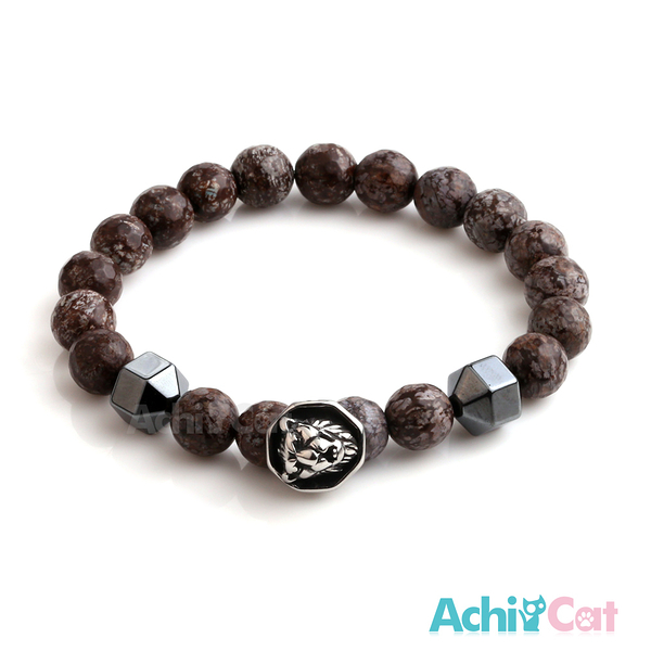AchiCat 手鍊 串珠手鍊 虎膽龍威 黑膽石 瑪瑙手鍊 獅頭手鍊 珠珠彈性手環 D款 H8069