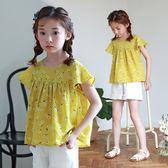 女童碎花短袖上衣寬鬆公主娃娃衫 E家人