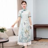 2020夏季中國風日常改良版正宗奧戴旗袍中長款民族風連身裙茶人服 韓國時尚週
