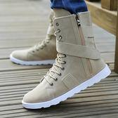 冬季馬丁靴學生潮流男靴韓版高筒加絨棉靴子男士沙漠靴保暖靴軍靴【onecity】