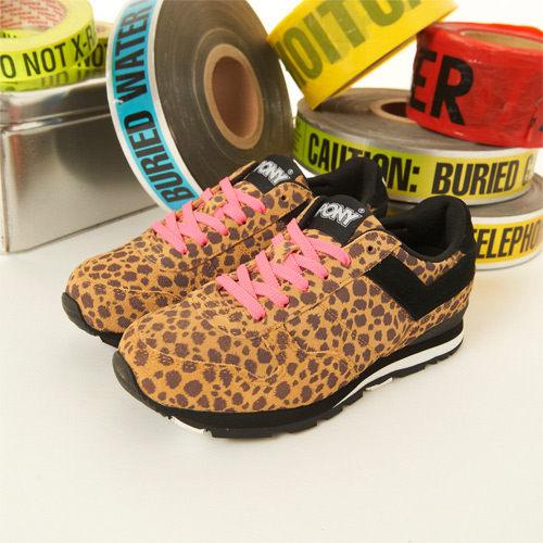 PONY 繽紛韓風復古慢跑鞋--SOLA 豹紋黑 24W1T36BK -- 女  6折零碼好康