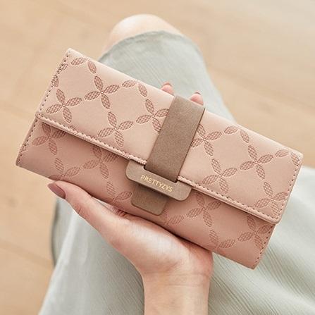 長夾-花朵格紋大容量撞色手拿包手機包女皮夾 AngelNaNa (SMA0261)