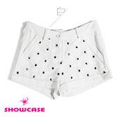 【SHOWCASE】花朵網紗拼接 休閒短褲(黑/白)