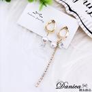 現貨 韓國女神浪漫幾何珍珠鋯石不對稱水鑽流蘇耳環 夾式耳環 S93601 批發價 Danica 韓系飾品