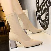 粗跟高跟鞋子 絨面尖頭性感顯瘦短靴《小師妹》sm614