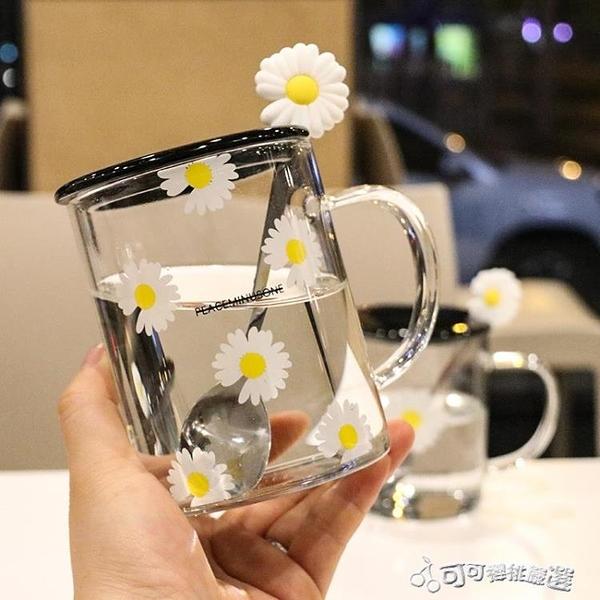 馬克杯 網紅小雛菊手柄玻璃杯帶蓋勺家用辦公家水杯花朵杯玻璃杯子馬克杯 Cocoa