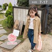 韓版男女童風衣外套。ROUROU童裝。春秋男女童卡其色長版寬鬆風衣 外套 0333-266
