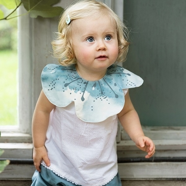圍兜 瑞典皇室御用 Elodie Details 360度有機棉吸水圍兜 口水巾 - 潑墨藍花 103454