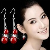 女天然瑪瑙耳環 女 新品鍍銀耳墜  耳環飾品《小師妹》ps359