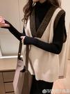 針織馬甲背心女秋冬2020新款外搭學院風寬鬆無袖外穿毛衣百搭坎肩  (橙子精品)