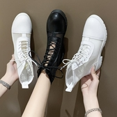 網紅潮鞋涼鞋女新款涼靴子 女夏短靴網紗ins馬丁靴女鏤空短筒
