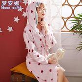 2019新款睡袍女秋冬季長款法蘭絨草莓袍子韓版公主珊瑚絨浴袍浴衣