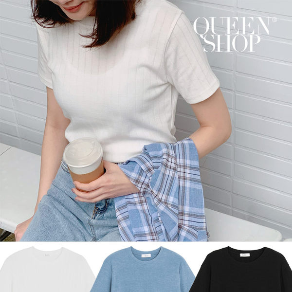 Queen Shop【01096230】直紋針織圓領上衣 三色售*現+預*