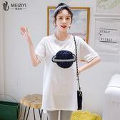 加大尺碼 女裝2019夏裝新款遮肚子微胖mm仙女人顯瘦減齡短袖白色T恤