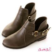 amai側V鏤空圓環皮帶微寬筒短靴 咖