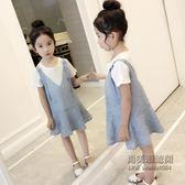 女童套裙童大童洋氣韓版兒童蕾絲背帶裙兩件套裙