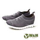 W&M 輕量系列 燕子圖騰彈性休閒 女鞋-灰(另有黑)