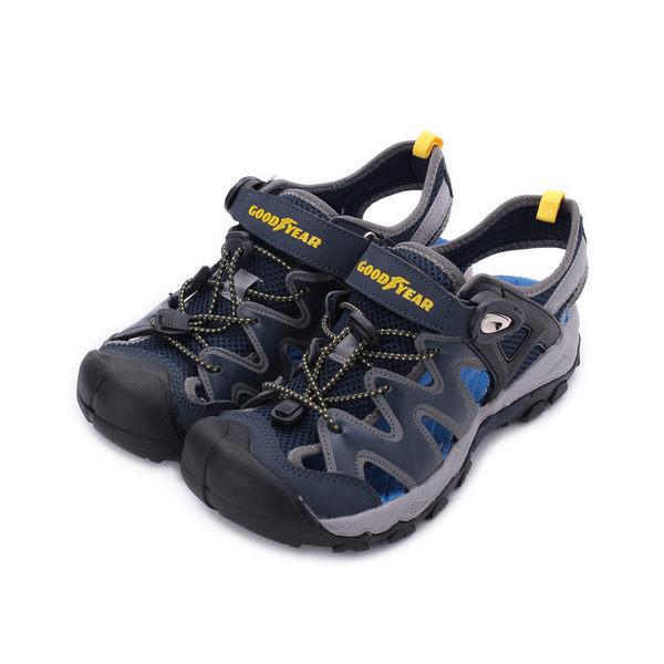 GOODYEAR WAVE磁扣護趾運動涼鞋 灰藍 GAMS93688 男鞋 鞋全家福