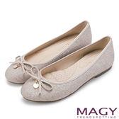 MAGY 清新甜美女孩 金蔥亮布蝴蝶結平底娃娃鞋-粉紅