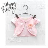 甜美胸花單釦荷葉袖短版小背心 女童 花朵粉色氣質百搭