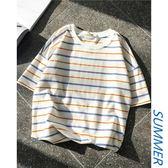 短袖T恤男ins潮上衣服韓版寬鬆網紅潮牌個性時尚條紋日系bf五分袖