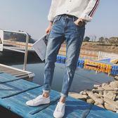 夏季新款淺色百搭男士牛仔褲子男韓版潮流修身小腳破洞九分褲   麥吉良品