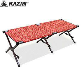 丹大戶外【KAZMI】豪華版高承重行軍床 紅 人體工學/折疊床/戶外床/附收納袋 基本耐重100kg K4T3C003