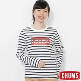 CHUMS 日本 女 LOGO 條紋長袖T恤 白/深藍 CH111208W011