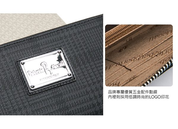 Roberto Mocali - 義大利配牛皮諾貝兔千鳥格紋8卡2照拉鏈長夾