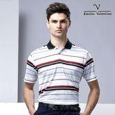 Emilio Valentino 都會休閒涼感POLO衫 - 紅白灰