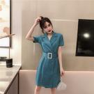 超殺29折 韓系時尚腰帶雙排扣西裝短袖洋...