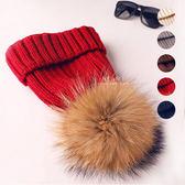 大毛球針織保暖帽 童帽 毛帽 保暖帽