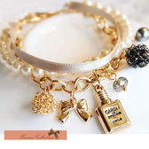 《花花創意会社》【H0815】小香風.香水蝴蝶結緞帶珍珠手環