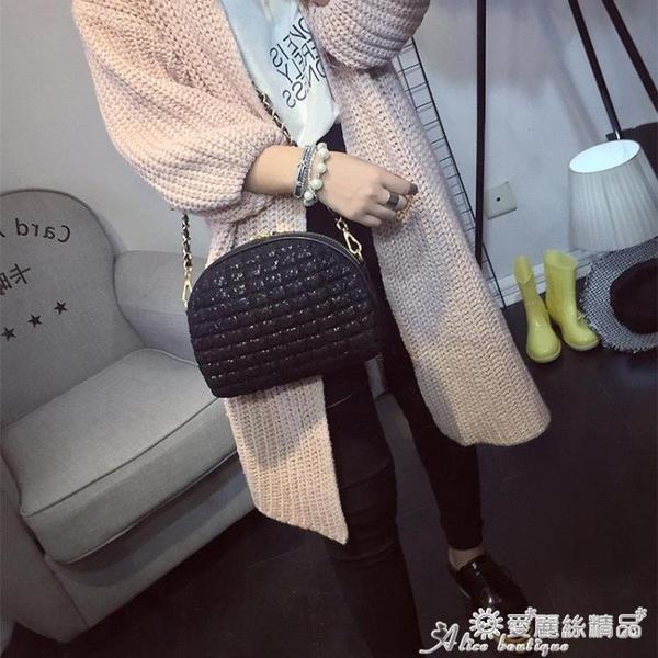 貝殼包 2020新款韓版女士包錬條小包蕾絲貝殼包復古小包包側背包斜背包潮 愛麗絲