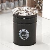 美式新款復古酒吧鐵藝油桶凳油漆臺凳鐵皮桶吧凳咖啡椅 GB4822『樂愛居家館』TW
