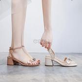涼鞋女夏季新款愛心一字帶羅馬鞋粗跟少女高跟鞋ins潮仙 快速出貨