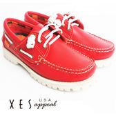 XES 女鞋 帆船休閒 女款經典 colorful 雷根 白底帆船鞋 熱情紅